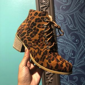 NWT - Leopard Suede Boots